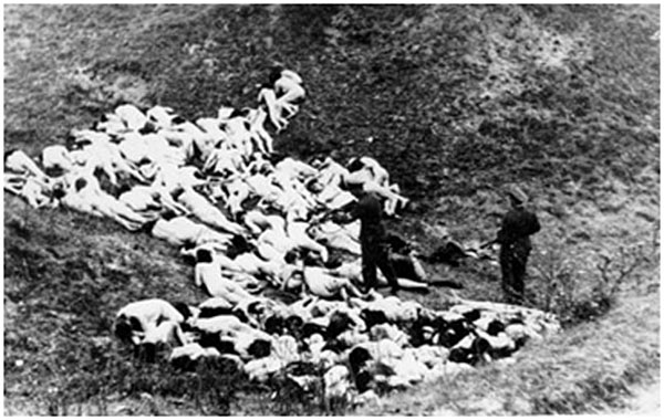 Nazi executioners shooting young Jewish women to prevent our people from procreation (Rovno Region, Ukraine, 1941. Before being shot, victims were ordered to strip)